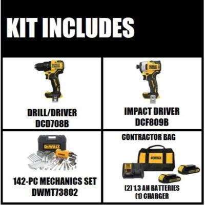 ATOMIC 20-Volt MAX Li-Ion Brushless Cordless Compact Drill/Impact Combo Kit (2-Tool) w/ Bonus Mech Tool Set (142-Piece)