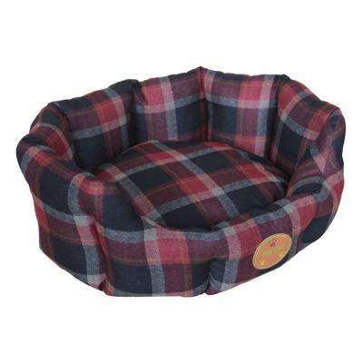 Medium Red and Blue Plaid Bed