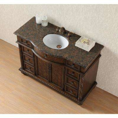 Amelia 48 in. Bathroom Vanity with Granite Vanity Top in Baltic Brown with White Under-Mount Sink