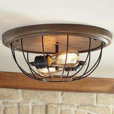 15.75 in. 2-Light Vintage Bronze Flush Mount with Open Cage Frame