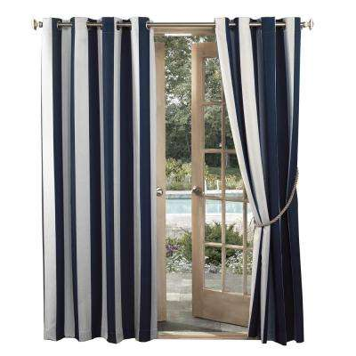 Watts Indigo Indoor/Outdoor Woven Stripe Color Window Curtain 52 in. W x 95 in. L(Price Varies by Size)