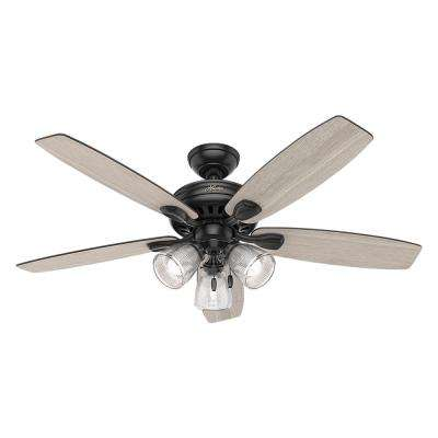 Highbury II 52 in. LED Indoor Matte Black Ceiling Fan with Light Kit
