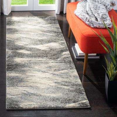 Retro Grey/Ivory 2 ft. x 11 ft. Runner Rug