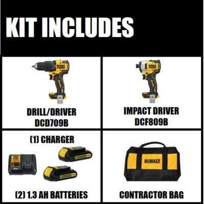 ATOMIC 20-Volt MAX Lithium-Ion Cordless Hammer Drill/Impact Combo Kit (2-Tool) with 2-Batteries 1.3 Ah, Charger and Bag