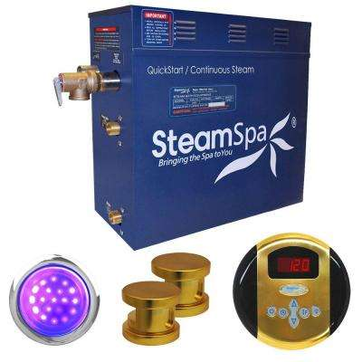 Indulgence 12kW Steam Bath Generator Package in Polished Brass