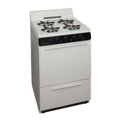 24 in. 2.97 cu ft. Battery Spark Ignition Gas Range in Biscuit