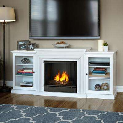 Frederick 72 in. Entertainment Center Ventless Gel Fuel Fireplace in White