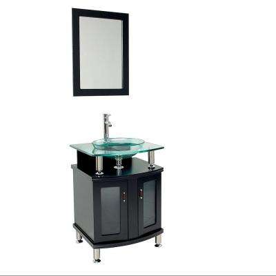 Contento 24 in. Vanity in Espresso with Glass Vanity Top in Espresso with Clear Basin and Mirror