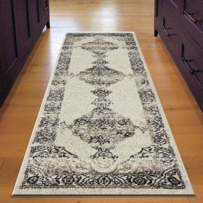 Infinity Medallion Distressed Gardenia Black / Walnut 2 ft. 1 in. x 7 ft. 5 in. Rectangle Indoor Runner Rug