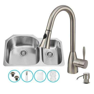 All-in-One Undermount Stainless Steel 31 in. Double Bowl Kitchen Sink in Stainless Steel Faucet Set