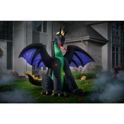 6 ft. Lighted Dragon with Flaming Mouth Halloween Inflatable