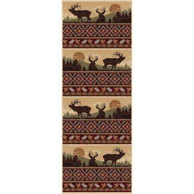 Nature Red 2 ft. 7 in. x 7 ft. 3 in. Lodge Rug Runner