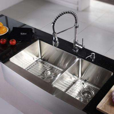 All-in-One Farmhouse Apron Front Stainless Steel 35.9 in. Double Bowl Kitchen Sink with Chrome Faucet