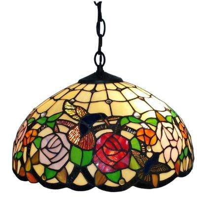 2-Light Tiffany Style Hummingbirds Floral Hanging Lamp