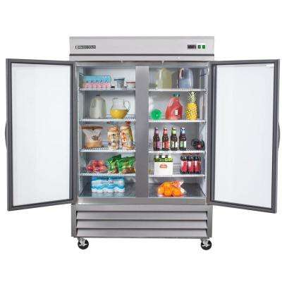 X-Series 49 cu. ft. Double Glass Door Commercial Refrigerator in Stainless Steel