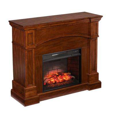 White Plains 45.75 in. W Corner Convertible Infrared Electric Fireplace in Oak Saddle