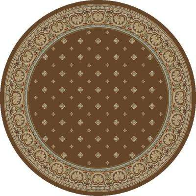 Ankara Pin Dot Brown 5 ft. 3 in. Round Area Rug
