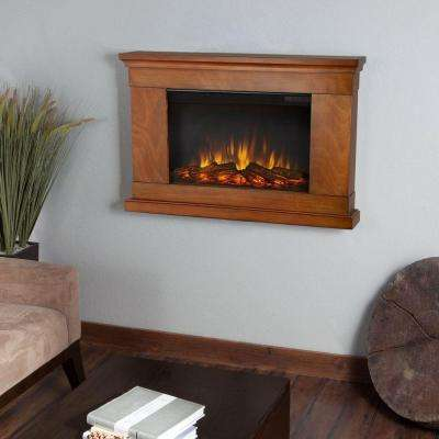Jackson 38 in. Wall-Mount Slim-Line Electric Fireplace in Pecan