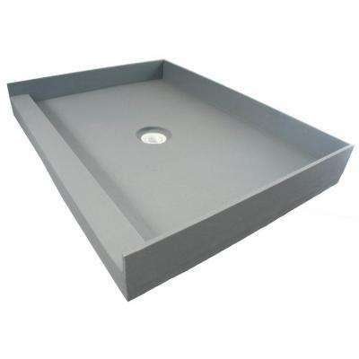 Fin Pan PreFormed 36 in. x 36 in. Single Threshold Shower Base in Gray with Center Drain