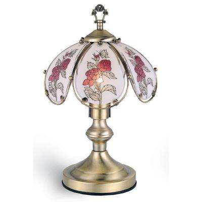 14.25 in. Rose Antique Brass Touch Lamp