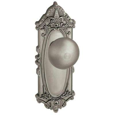 Grande Victorian Satin Nickel Plate with Dummy Fifth Avenue Knob