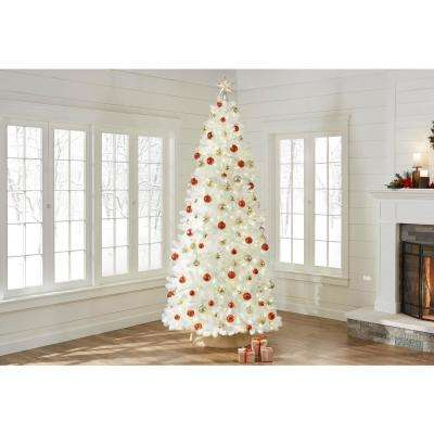 9 ft. Pre-Lit LED Glossy White North Hill Spruce Artificial Christmas Tree with 700 Warm White Lights