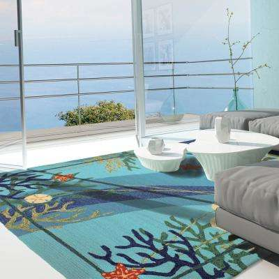 Underwater Coral and Starfish Blue 2 ft. x 5 ft. Indoor/Outdoor Runner Rug