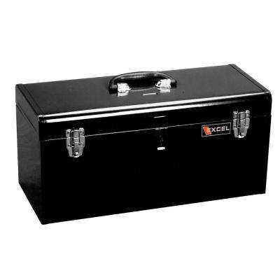 20 in. W x 8.6 in. D x 9.6 in. H Portable Steel Tool Box with Steel Tray, Black