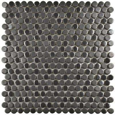 Comet Penny Round Silver 11-1/4 in. x 11-3/4 in. x 9 mm Porcelain Mosaic Tile