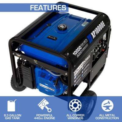 10000-Watt/8,000-Watt Electric Start Gasoline Powered Portable Generator with Wheel Kit