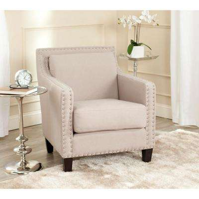 Charles George Taupe Linen Arm Chair