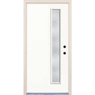 36 in. x 80 in. Classic 1 Lite Rain Glass Painted Fiberglass Prehung Front Door with Brickmould