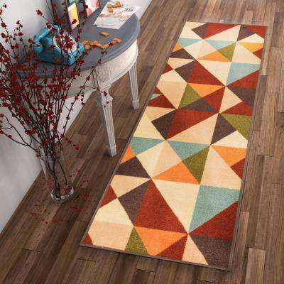 Kings Court Vector Red 3 ft. x 12 ft. Modern Geometric Runner Rug