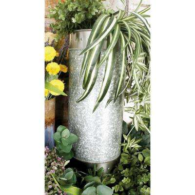 Silver with Patina Finish Iron Cylindrical Planters (Set of 3)