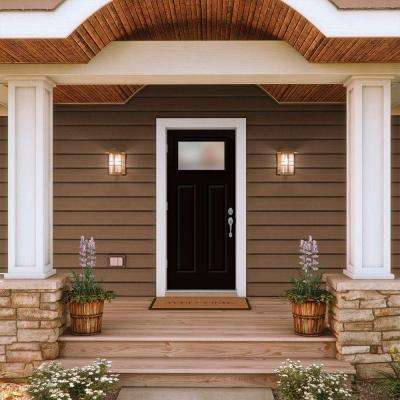 34 in. x 80 in. 1 Lite Craftsman Black w/ White Interior Steel Prehung Right-Hand Outswing Front Door w/Brickmould