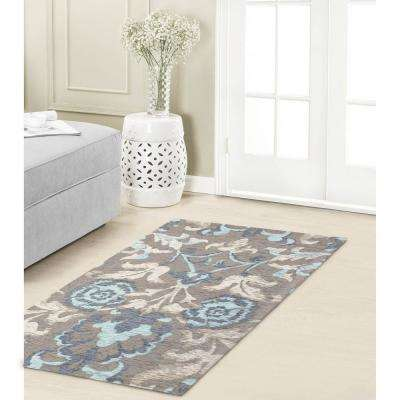 Penelope Duck Egg Blue Jacquard Chenille 2 ft. x 4 ft. Textured Area Rug