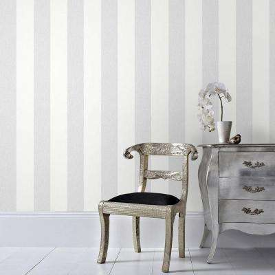 Calico Stripe Gray Vinyl Strippable Wallpaper (Covers 56 sq. ft.)