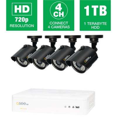 4-Channel 720p 1TB Video Surveillance System with 4 HD Bullet Cameras and 100 ft. Night Vision