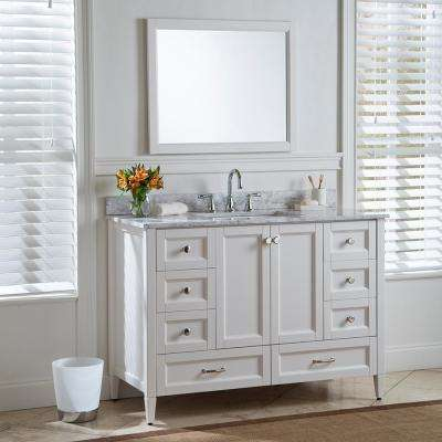 Claxby 49 in. W x 22 in. D Bathroom Vanity in Cream with Stone Effect Vanity Top in Winter Mist with White Sink