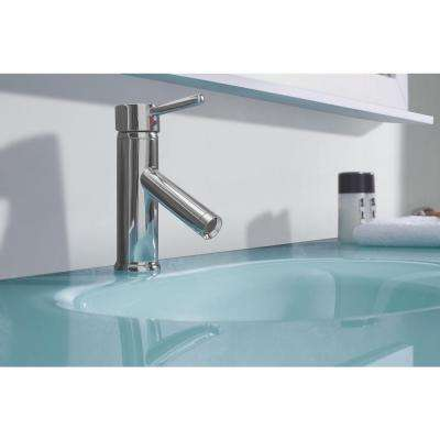 Ava 63 in. W Bath Vanity in White with Glass Vanity Top in Aqua Tempered Glass with Round Basin and Mirror and Faucet
