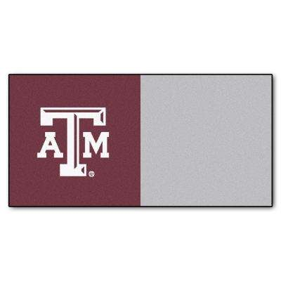 NCAA - Texas A&M University Maroon and Gray Nylon 18 in. x 18 in. Carpet Tile (20 Tiles/Case)