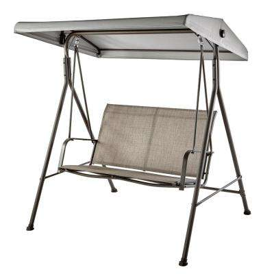 Mix and Match 2-Person Steel Sling Dark Taupe Outdoor Patio Swing in Taupe