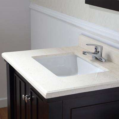 Positano 30 in. W x 22 in. D Bath Vanity in Tobacco with Marble Vanity Top in Sahara with White Basin