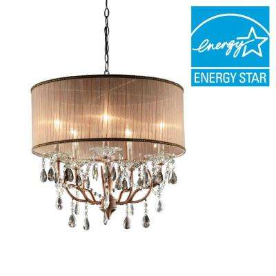 25 in. 6-Light Antique Copper Rosie Ceiling Crystal Chandelier