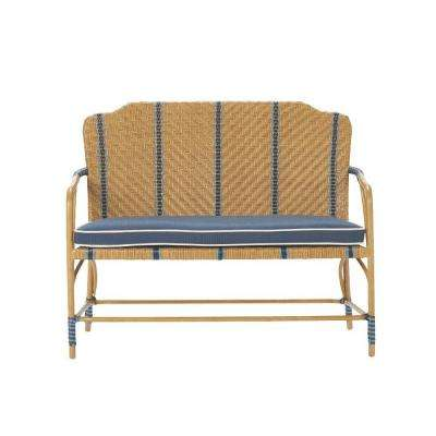 Oleander Wicker Patio Dining Bench with Blue Cushions