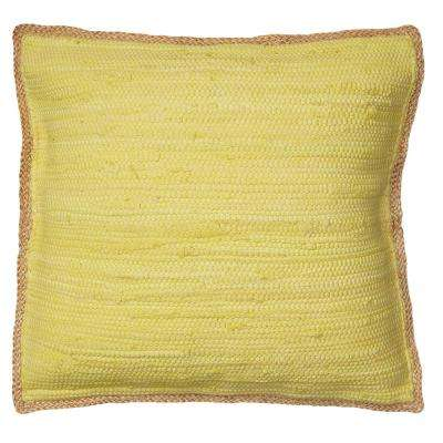 Riley Yellow 20 in. x 20 in. Chindi/Jute Decorative Throw Pillow