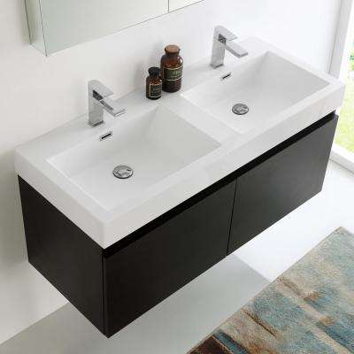 Mezzo 48 in. Vanity in Black with Acrylic Vanity Top in White with White Basins and Mirrored Medicine Cabinet