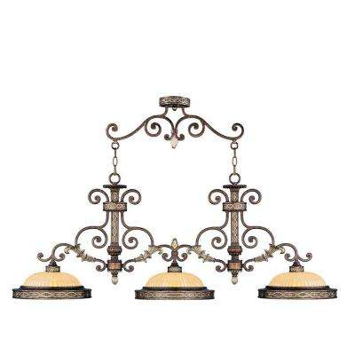 Providence 3-Light Palatial Bronze with Gilded Accents Incandescent Ceiling Island Pendant
