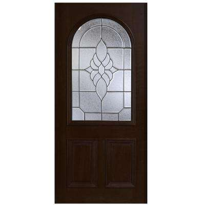 36 in. x 80 in. Mahogany Type Round Top Glass Prefinished Espresso Beveled Patina Solid Stained Wood Front Door Slab