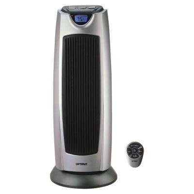 21 in. 750-Watt to 1500-Watt Oscillating Tower Heater with Digital Temp Readout and Remote Control